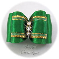 Emerald with Crystals Adult Dog Bow