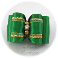 Emerald with Gold Adult Dog Bows
