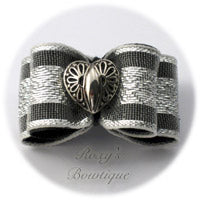 Silver Heart Double Loop - Adult Dog Bow