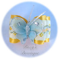 Yellow Satin Butterfly - Adult Dog Bow