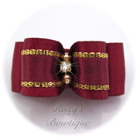 Gold and Wine - Puppy Dog Bow