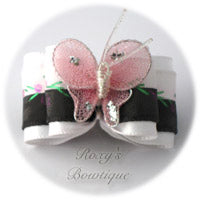 Black and White Satin Butterfly - Adult Dog Bow