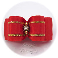 Gold and Red - Puppy Dog Bow