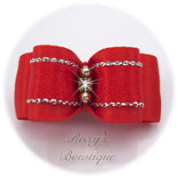 Silver and Red - Puppy Dog Bow