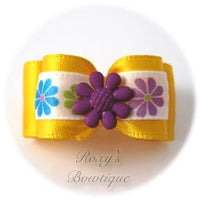 Yellow Gold with Purple Summer Flower Puppy Dog Bow