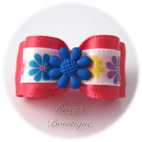 Hot Pink with Blue Summer Flower - Puppy Dog Bow