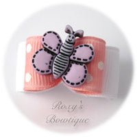 Pink and White Butterfly - Puppy Dog Bow