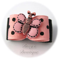 Pink and Black Butterfly - Puppy Dog Bow