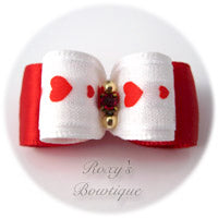 White and Red with Baby Hearts-Puppy Dog Bow