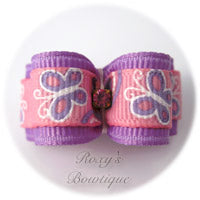 Lavender Butterflies Dog Bow