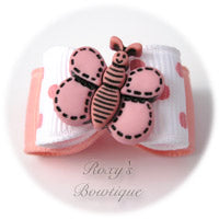 White and Pink Butterfly - Puppy Dog Bow