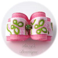 Pink Butterflies Dog Bow - Puppy Dog Bow