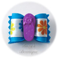 Blue with Purple Sandal - Adult Dog Bow