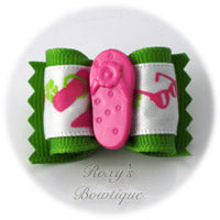 Green with Pink Sandal - Adult Dog Bow