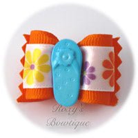 Orange with Blue Sandal - Adult Dog Bow