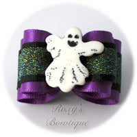 Boo the Ghost - Purple - Adult Dog Bow