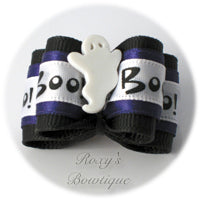 Boo the Ghost - Black - Adult Dog Bow