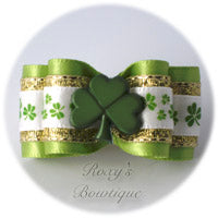 Green Fancy Shamrocks - Adult Dog Bow