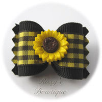 Gingham Sunflower Dog Bow