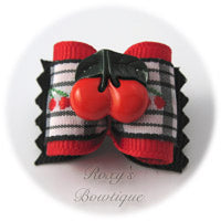 Cherry Pie Dog Bow - Black