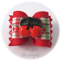 Cherry Pie Dog Bow - Red - Adult Dog Bow