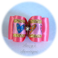 Hot Pink and Gold with Hearts and Rhinestone Adult Dog Bow