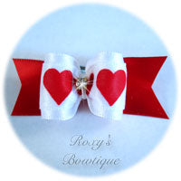 Valentine Hearts with Rhinestone - Adult Dog Bow