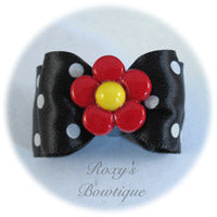 Black and White Dots - Adult Dog Bow