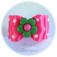 Hot Pink and White Dots - Adult Dog Bow