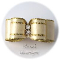 Gold and Ivory Puppy Dog Bow