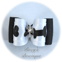 White and Black Bone - Adult Dog Bow