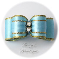 Gold and Light Blue Puppy Dog Bow