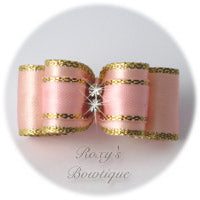 Fancy Gold and Light Pink Puppy Dog Bow