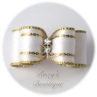 Gold and White - Puppy Dog Bow