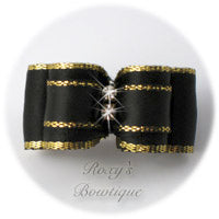 Fancy Gold and Black Puppy Dog Bow