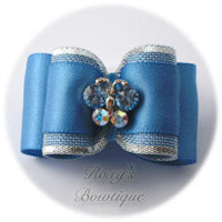 Porcelain Blue Crystal Butterfly - Adult Dog Bow