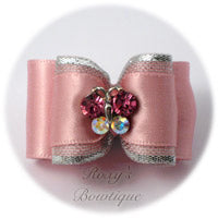Rose Pink Crystal Butterfly - Adult Dog Bow