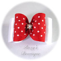 Sweet Red with White Dots Adult Dog Bow
