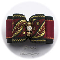 Black and Wine with Gold - Adult Dog Bow