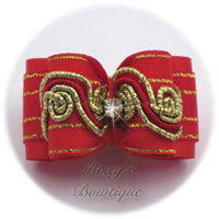 Radiant Red and Gold - Adult Dog Bow