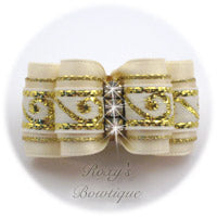 Greek Key Ivory and Gold - Adult Dog Bow