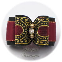 Wine and Black with Gold - Adult Dog Bow