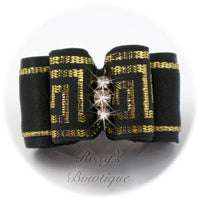 Greek Key Black and Gold - Adult Dog Bow