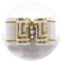 Greek Key White and Gold - Adult Dog Bow