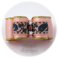 Pink and Blue Jacquard with Gold - Puppy Dog Bow