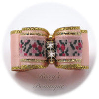 Pink Floral Jacquard with Gold - Puppy Dog Bow