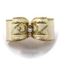 Greek Key Ivory and Gold - Puppy Dog Bow