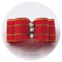 Fancy Red with Gold - Puppy Dog Bow