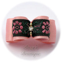 Pink Satin and Pink Flowers - Puppy Dog Bow