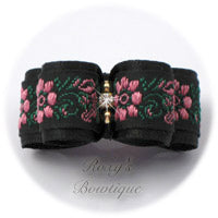 Black Satin and Pink Flowers - Puppy Dog Bow